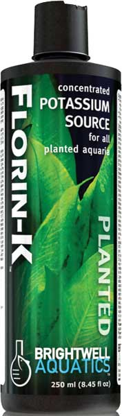 Brightwell Florin-K Potassium Source Fertilizer for Planted FW Aquaria 250 ml /8.5 fl. oz.