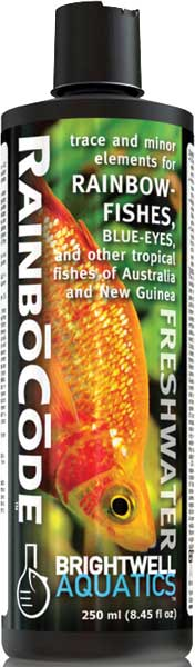 Brightwell RainboCode trace mineral supplement for Rainbowfishes 250 ml /8.5 fl. oz.